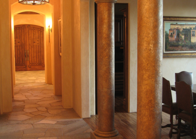 Windsor dining area hallway with textured and finished decorative columns