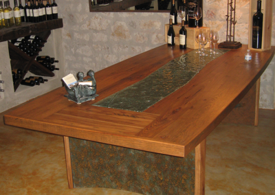 Custom wine tasting table with kiln formed glass insert and welded base