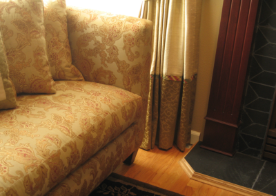 Detail of custom drapery and sofa design and fabric selections