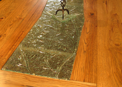 Custom wine tasting table - detail of hickory and central glass insert