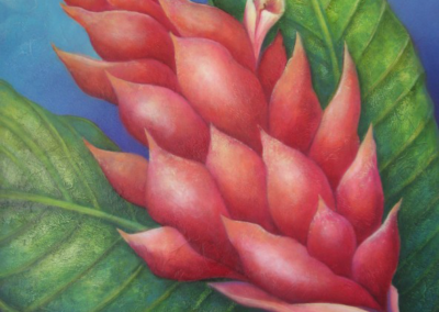 Tropical floral tryptic -custom wall piece - panel II.
