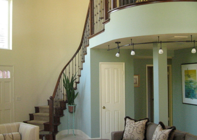 San Diego living room with re-done staircase and balcony