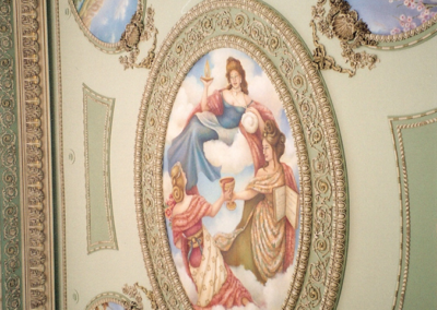 Three graces and the four seasons ceiling murals