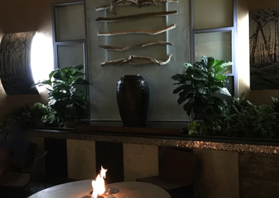 Fire pit tables and lit elements