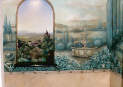 French 18th century style mural with marble sink