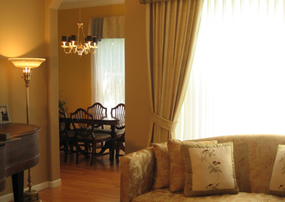 Santa Rosa formal living and dining rooms with custom window treatments